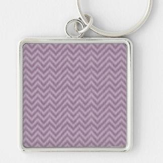 Vintage Purple Lilac Ikat Chevron Zigzag Key Chain
