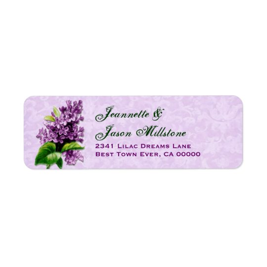 Vintage Purple Lilac  Wedding Label V3