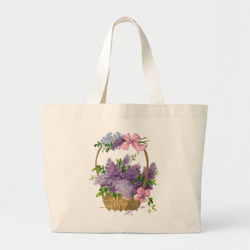 Vintage Purple Lilacs Antique Flower Bouquet Tote Bags