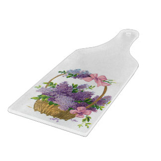 Vintage Purple Lilacs Antique Flower Bouquet Cutting Board