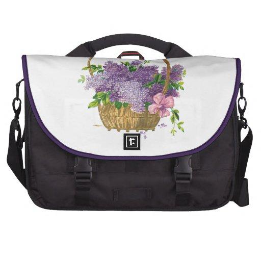 Vintage Purple Lilacs Antique Flower Bouquet Commuter Bags