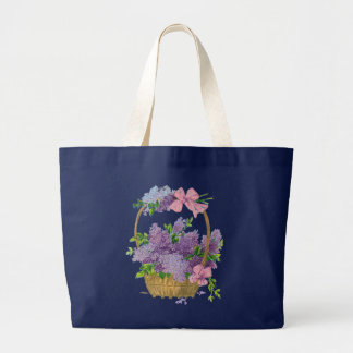 Vintage Purple Lilacs Flower Bouquet Navy Blue Tote Bags