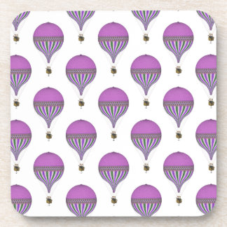 Vintage Purple, Lt Green, White Hot Air Balloons Drink Coasters
