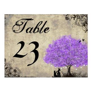 Vintage Purple Mason Jar in Tree Table Numbers Postcard