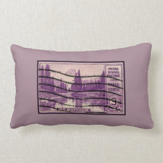 Vintage Purple Mount Rainier Landscape US Postage Throw Pillows