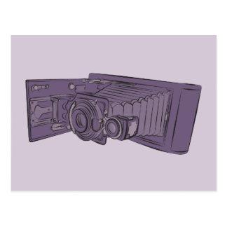 VIntage Purple Old Camera Post Card