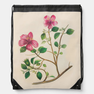 Vintage Purple Pink Flowers Drawstring Bag