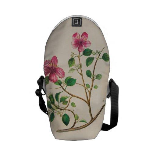 Vintage Purple Pink Flowers Messenger Bags