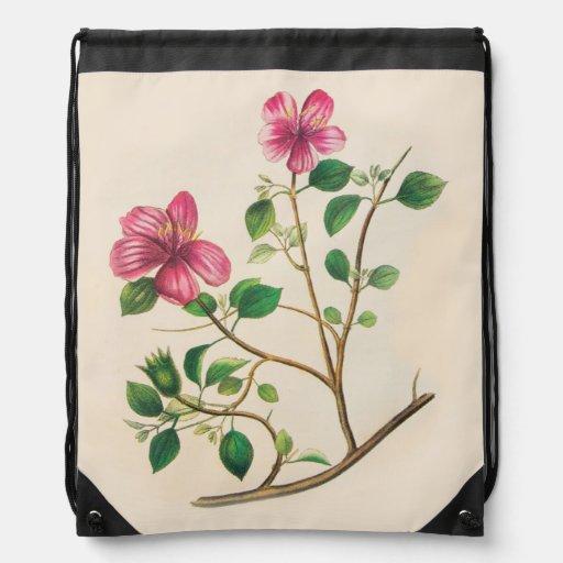 Vintage Purple Pink Flowers Cinch Bag