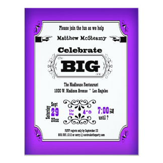 Vintage Purple Playbill Birthday Party Invitation