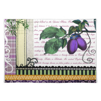 Vintage Purple Plum fruit art kitchen placemats