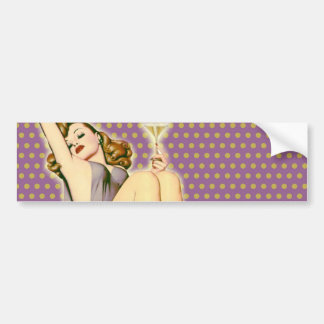 vintage purple polka dots retro pinup girl bumper sticker