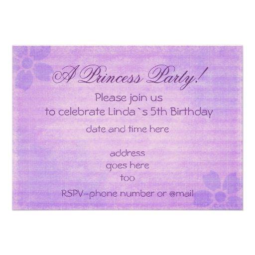 Vintage purple Princess party birthday invitation