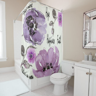 Vintage Purple Rose Print Shower Curtain