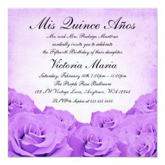 Vintage Purple Rose Quinceanera Birthday Party 13 Cm X 13 Cm Square Invitation Card