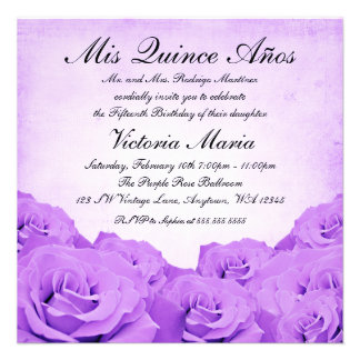 Vintage Purple Rose Quinceanera Birthday Party Invite