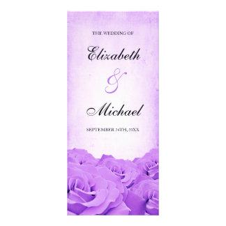 Vintage Purple Rose Wedding Program Rack Card
