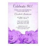 Vintage Purple Roses 80th Birthday Party 13 Cm X 18 Cm Invitation Card