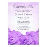 Vintage Purple Roses 80th Birthday Party 11 Cm X 16 Cm Invitation Card