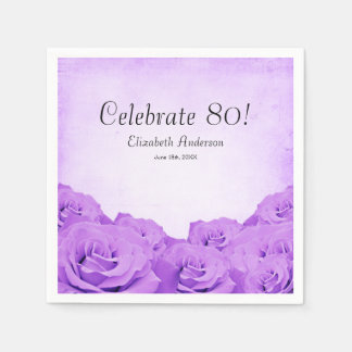 Vintage Purple Roses 80th Birthday Party Paper Napkins
