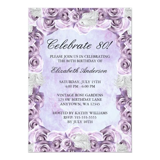 Vintage Purple Roses And Feather 80th Birthday Invitation
