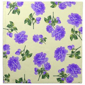 Vintage purple roses pattern cream cloth napkins