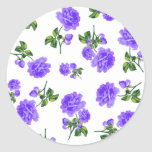 Vintage Purple Roses Round Sticker