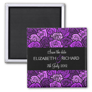 Vintage purple roses 'Save the date' Magnet