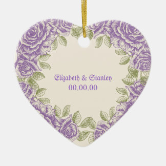 Vintage purple roses Wedding Christmas Ornament