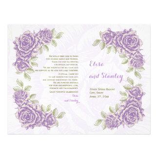 Vintage purple roses wedding folded program flyer