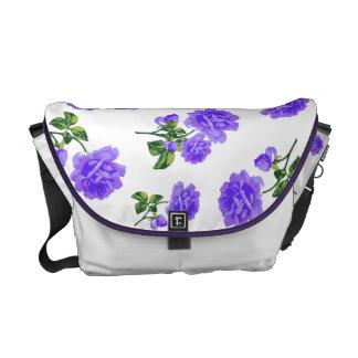 Vintage Purple Roses white bag Messenger Bags