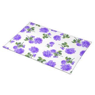 Vintage purple roses white cloth placemats
