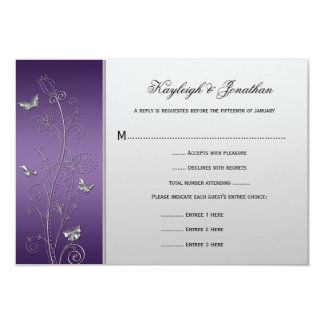Vintage Purple Silver Floral Butterflies RSVP 9 Cm X 13 Cm Invitation Card