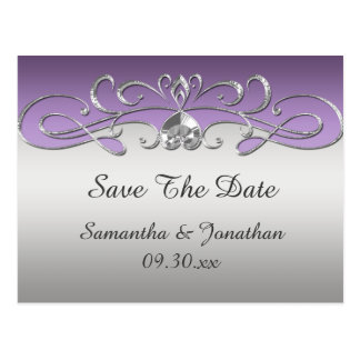 Vintage Purple Silver Ornate Swirls Save The Date Postcard