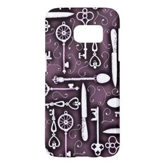 Vintage Purple Steampunk Pattern Keys Knives Spoon