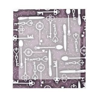 Vintage Purple Steampunk Pattern Keys Knives Spoon Notepad