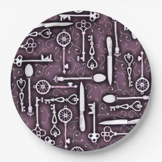 Vintage Purple Steampunk Pattern of Keys Knives Paper Plate