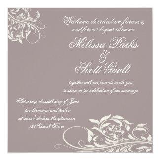 Vintage Purple Swirl Wedding Invitation