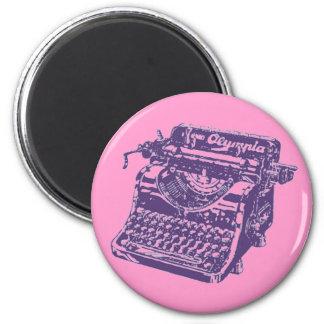 Vintage Purple Typewriter 6 Cm Round Magnet