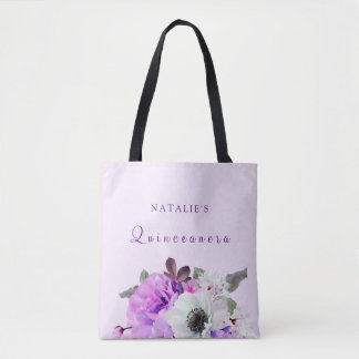 Vintage Purple White Floral Quinceanera Tote Bag