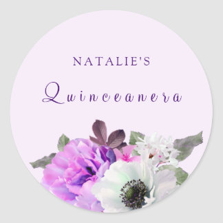 Vintage Purple White Flower Quinceanera Sticker