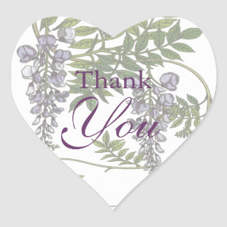 Vintage Purple Wisteria Green Leaves Vine Heart Sticker