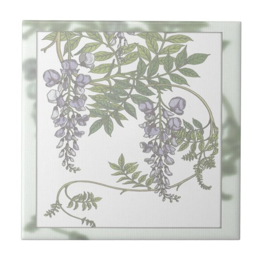 Vintage Purple Wisteria Green Leaves Vine Small Square