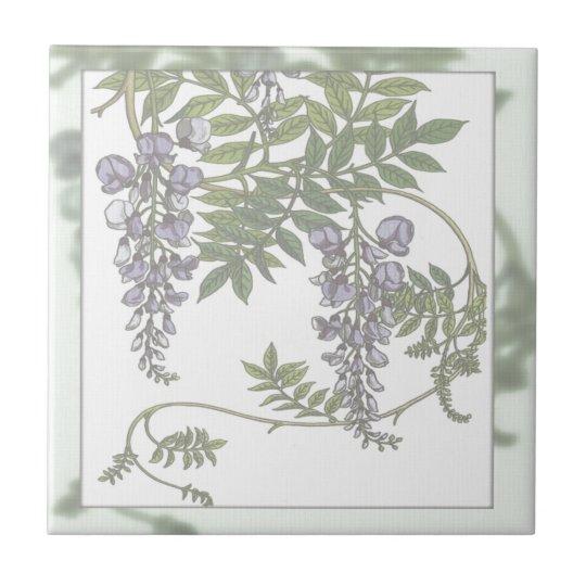 Vintage Purple Wisteria Green Leaves Vine Tile
