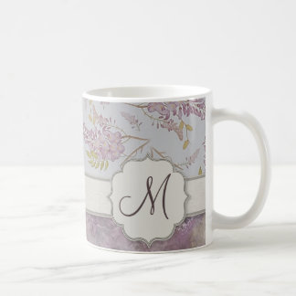 Vintage Purple Wisteria with Monogram Coffee Mug