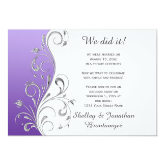 Vintage Purple with Ornate Silver Floral Swirls 13 Cm X 18 Cm Invitation Card