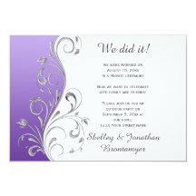 """Vintage Purple with Ornate Silver Floral Swirls 5"""" X 7"""" Invitation Card"""