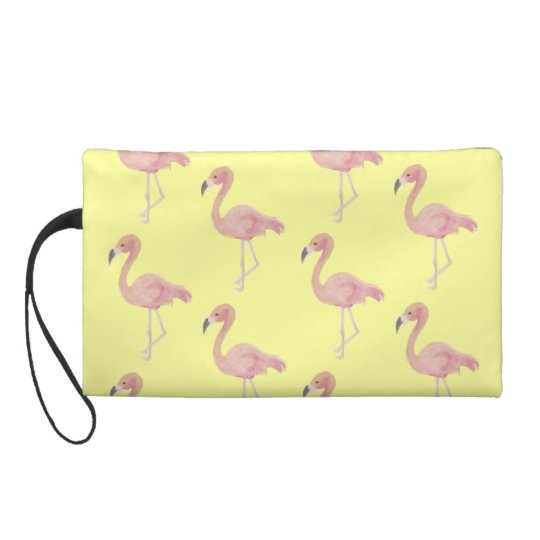 Vintage Purse watercolor Flamingo ilustration Wristlets