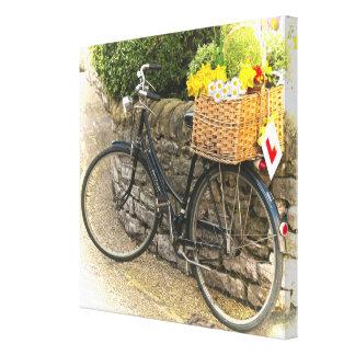 Vintage Push Bike Flower Basket Country Scene Canvas Print