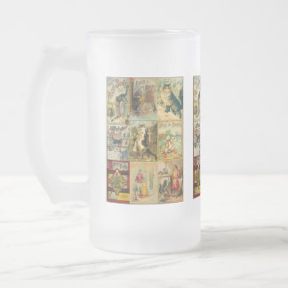 Vintage Puss in Boots Christmas Montage Frosted Glass Mug